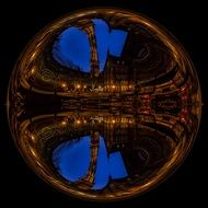 clipart of glass ball with mirroring of old city at blue hour