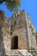 ruin of medieval castle, spain, mallorca