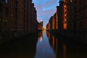 old warehouses at dusk, germany, hamburg, speicherstadt