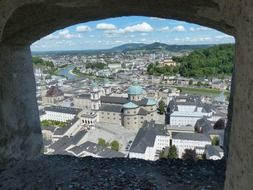 view of old city from hohensalzburg fortress, austria, salzburg