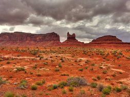 rock formation in red desert, monument valley, usa, arizona