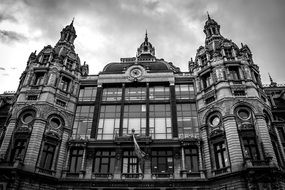 central station building at cloudy sky, belgium, antwerp