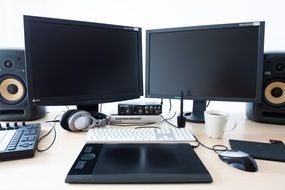 workplace with computer equipment