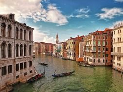 view of old buildings at channel, italy, venice