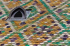 colorful structure pattern roof dark dormer
