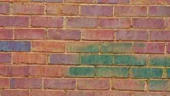 red brick wall tinted with green