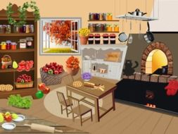 jars, fruits and vegetables in kitchen at autumn, illustration