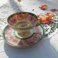 antique painted porcelain cup on table