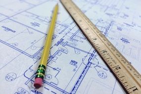 architect plan with ruler and pencil