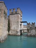 towers of The castle of Sirmione on Garda Lake, Italy, Brescia