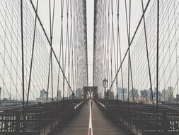 wire fence of brooklyn bridge, usa, new york city