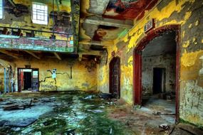 colorful grunge interior of abandoned factory