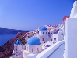 beautiful village on island at sea, greece, santorini