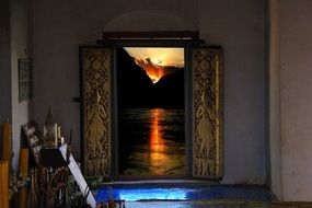 window sunrise water reflection temple laos asia