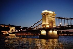 Széchenyi Chain Bridge across Danube river at night, hungary, budapest