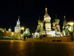 kremlin and st basil's cathedral on red square at night, russia, moscow