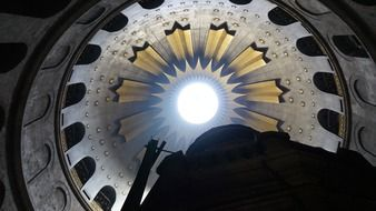 bottom view of holy sepulchre dome, israel, jerusalem