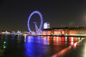 night view london eye city river