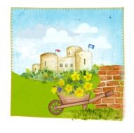 wheelbarrow with flowers in view of cartoon medieval castle, artwork