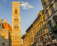 dome and bell tower at sky, Cathedral of Saint Mary of the Flower, italy, florence