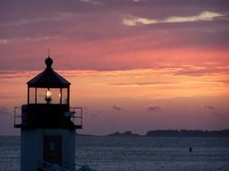 sunset water lighthouse sky