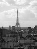 black-and-white view of the Eiffel Tower