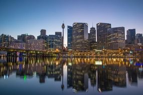 centrepoint tower in cityscape at evening, australia, sydney