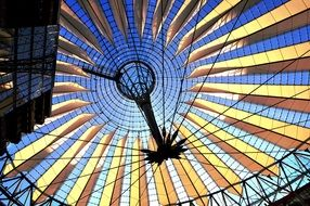 roof construction of Sony Center at Potsdamer Platz, germany, berlin