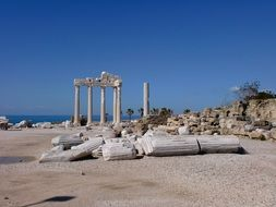 Apollon Tempel ruin at sea, turkey, alanya, side