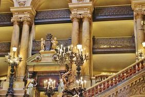 staircase in gorgeous interior of opera garnier, france, paris