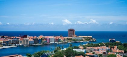Colorful center of city willemstad in curacao