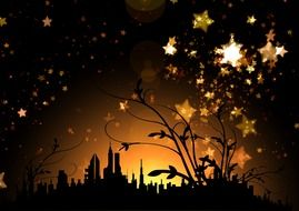 golden stars at sunset sky above silhouette of city, illustration