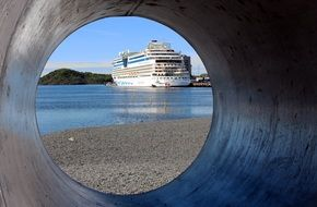 cruise ship in port, norway, oslofjord