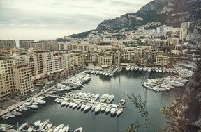top view of Fontvieille and Monaco Harbor with Luxury Yachts, france