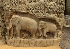elephants, ancient bas-relief, india, mahabalipuram