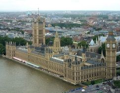 westminster palace top view, uk, london