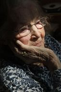 old woman in glasses, portrait