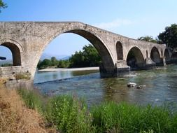 ancient bridge across Arachthos river, greece, arta