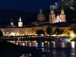 night city at salzach river, germany, salzburg