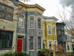 row of old colorful two-storey houses, usa, washington dc