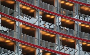 facade of multi storey modern building, fragment, germany, berlin