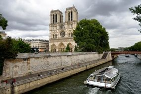 notre dame view from seine river, france, paris