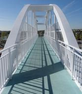 pedestrian metal bridge in town
