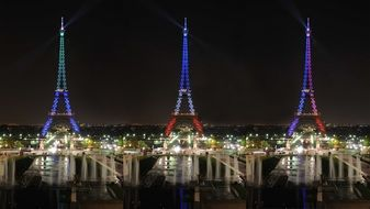 The triple projection of the Eiffel Tower