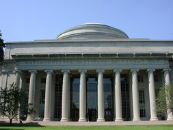 Massachusetts Institute of Technology, old building with columns, usa, Cambridge