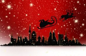 christmas illustration with santa claus in red sky above city skyline