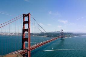 Golden Gate bridge in San Francisco from a height