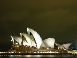 illuminated opera house at night, australia, sydney