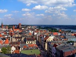 roof view of old city at river, poland, Toruń