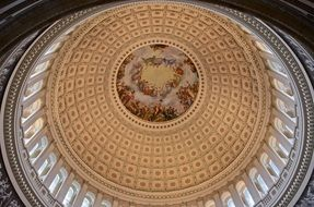 bottom view of capitol dome, ornamented ceiling, usa, washington dc